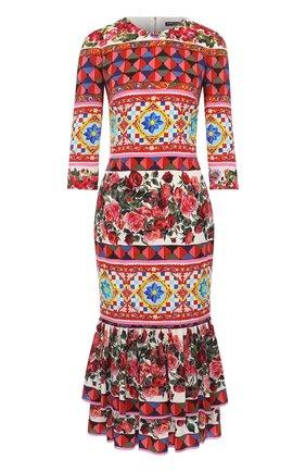 Платье с ярким принтом и укороченным рукавом Dolce & Gabbana разноцветное   Фото №1