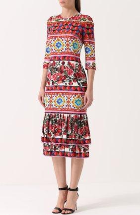 Платье с ярким принтом и укороченным рукавом Dolce & Gabbana разноцветное   Фото №3