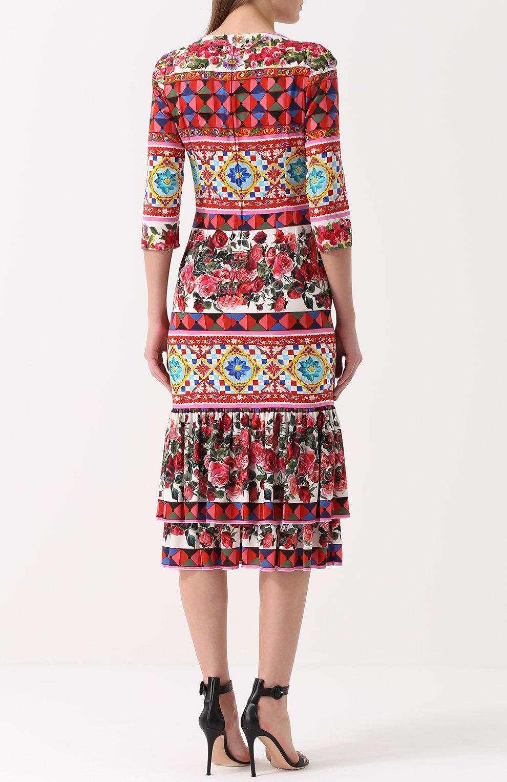 Платье с ярким принтом и укороченным рукавом Dolce & Gabbana разноцветное   Фото №4