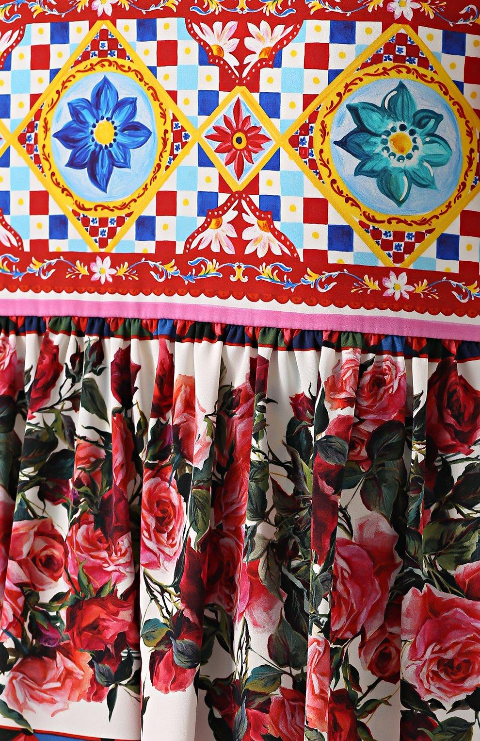 Платье с ярким принтом и укороченным рукавом Dolce & Gabbana разноцветное   Фото №5