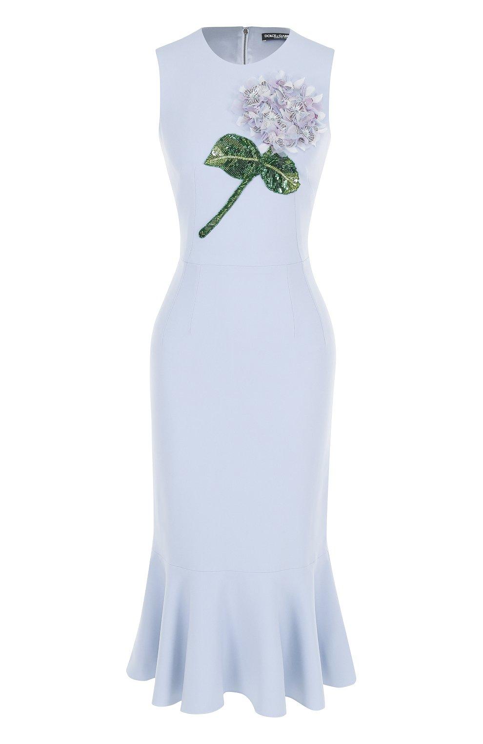 Платье-миди с юбкой-годе и цветочной отделкой | Фото №1