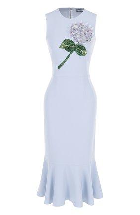 Платье-миди с юбкой-годе и цветочной отделкой Dolce & Gabbana голубое | Фото №1