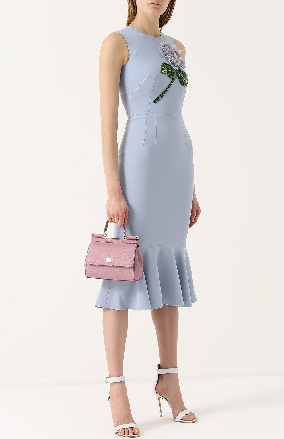 Платье-миди с юбкой-годе и цветочной отделкой Dolce & Gabbana голубое | Фото №2