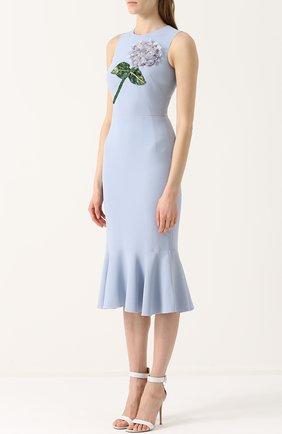 Платье-миди с юбкой-годе и цветочной отделкой Dolce & Gabbana голубое | Фото №3