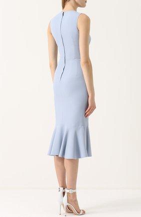 Платье-миди с юбкой-годе и цветочной отделкой Dolce & Gabbana голубое | Фото №4