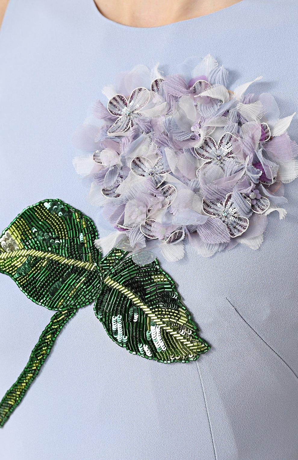 Платье-миди с юбкой-годе и цветочной отделкой Dolce & Gabbana голубое | Фото №5