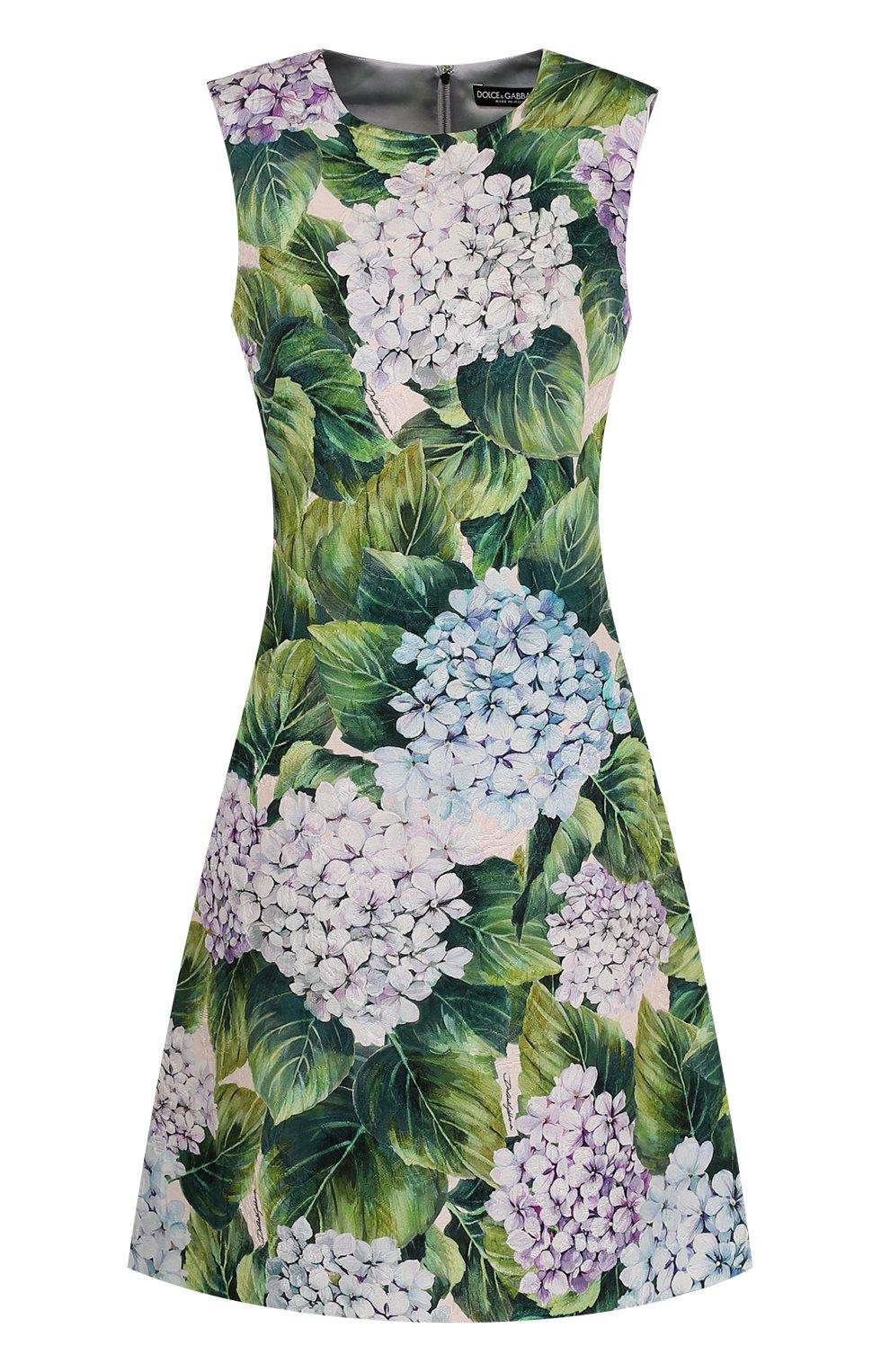 Приталенное мини-платье с цветочным принтом | Фото №1