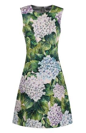 Приталенное мини-платье с цветочным принтом Dolce & Gabbana зеленое | Фото №1