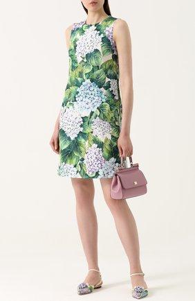 Приталенное мини-платье с цветочным принтом Dolce & Gabbana зеленое | Фото №2