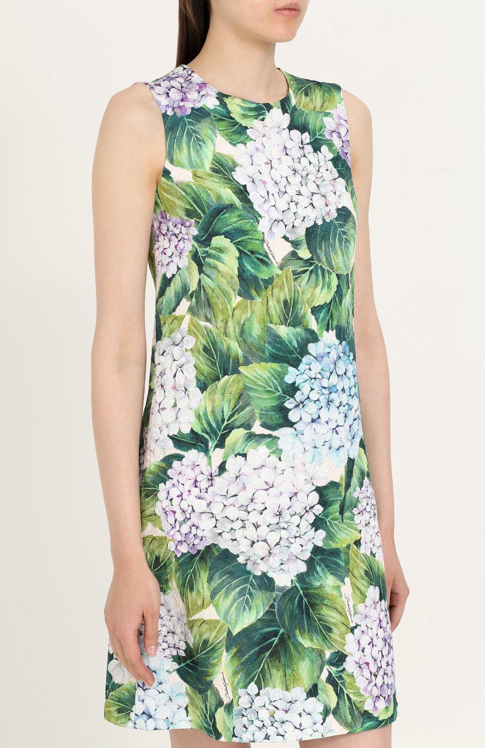 Приталенное мини-платье с цветочным принтом Dolce & Gabbana зеленое | Фото №3