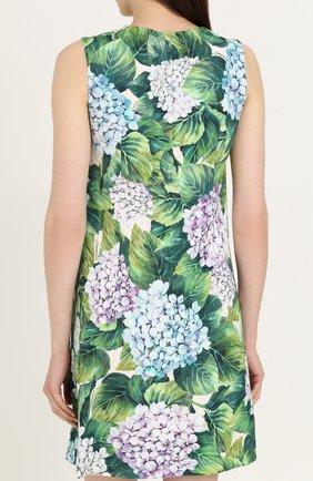 Приталенное мини-платье с цветочным принтом Dolce & Gabbana зеленое | Фото №4