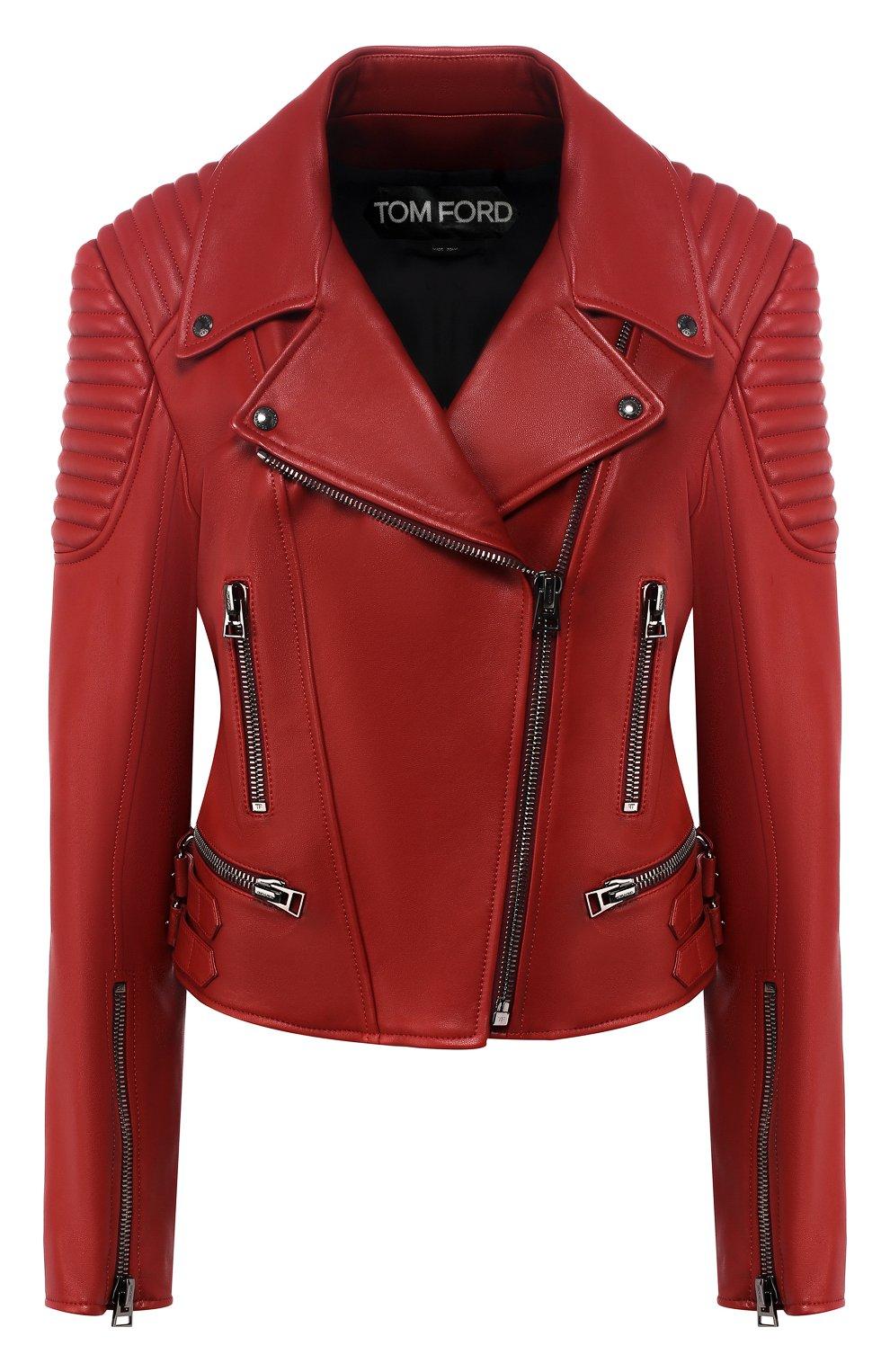 Приталенная кожаная куртка с косой молнией   Фото №1