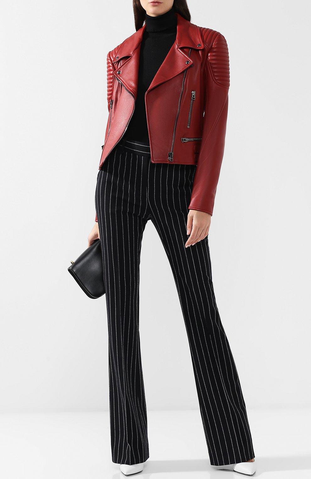 Приталенная кожаная куртка с косой молнией   Фото №2