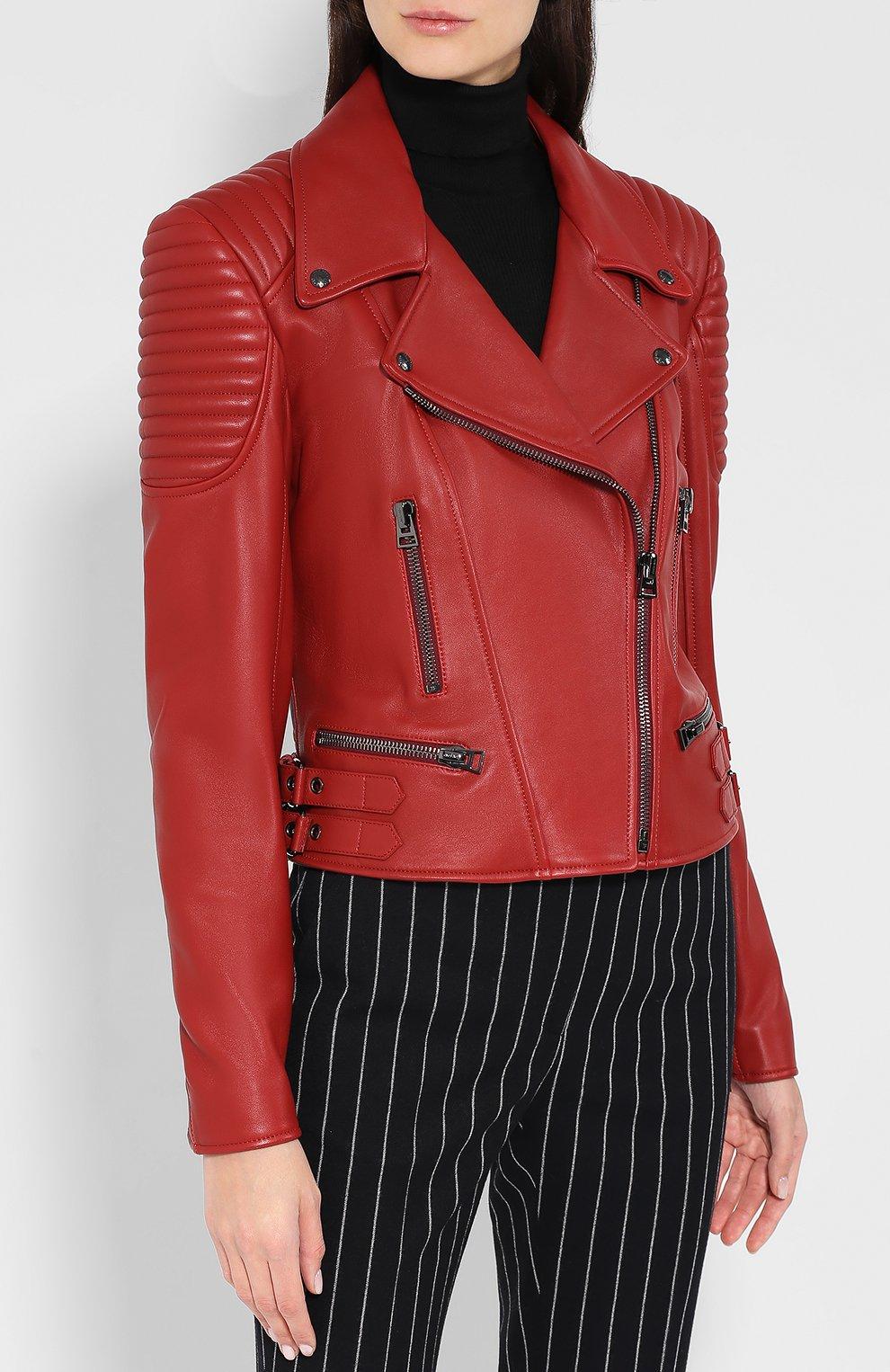 Приталенная кожаная куртка с косой молнией   Фото №3