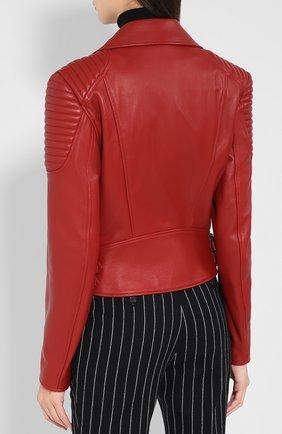 Приталенная кожаная куртка с косой молнией   Фото №4