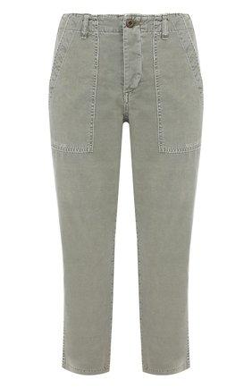 Укороченные брюки прямого кроя AMO оливковые   Фото №1