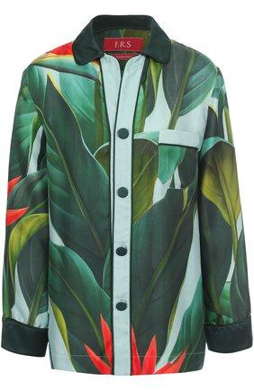 Женская шелковая блуза прямого кроя с цветочным принтом F.R.S., цвет зеленый, арт. CA000144/TE00139 в ЦУМ | Фото №1