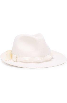 Фетровая шляпа с лентой с кожаной отделкой Ioanna Deschamps Paris белого цвета | Фото №1