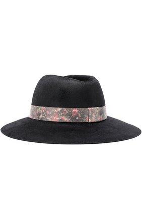 Фетровая шляпа с лентой с цветочным принтом Ioanna Deschamps Paris черного цвета | Фото №1