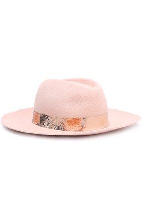 Фетровая шляпа с лентой с цветочным принтом Ioanna Deschamps Paris светло-розового цвета | Фото №1