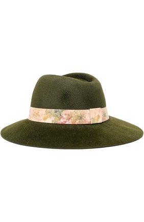 Фетровая шляпа с лентой с цветочным принтом Ioanna Deschamps Paris хаки цвета | Фото №1