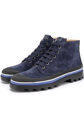 Высокие замшевые ботинки Valentino Garavani на шнуровке с контрастной отделкой