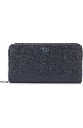 Кожаный бумажник на молнии с отделениями для кредитных карт и монет Dolce & Gabbana темно-синего цвета | Фото №1