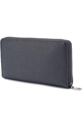 Кожаный бумажник на молнии с отделениями для кредитных карт и монет Dolce & Gabbana темно-синего цвета | Фото №2