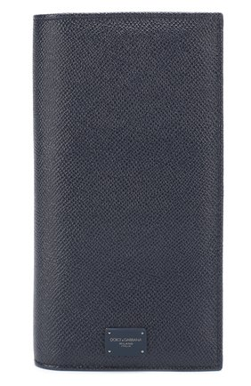 Кожаный бумажник с отделениями для кредитных карт и монет Dolce & Gabbana темно-синего цвета | Фото №1