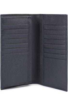 Кожаный бумажник с отделениями для кредитных карт и монет Dolce & Gabbana темно-синего цвета | Фото №3