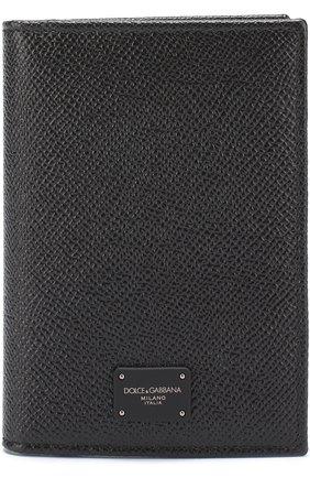 Кожаный футляр для документов Dolce & Gabbana черного цвета | Фото №1
