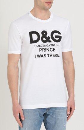 Хлопковая футболка с контрастной надписью Dolce & Gabbana белая | Фото №3