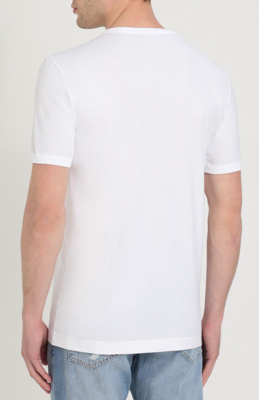 Хлопковая футболка с контрастной надписью Dolce & Gabbana белая | Фото №4
