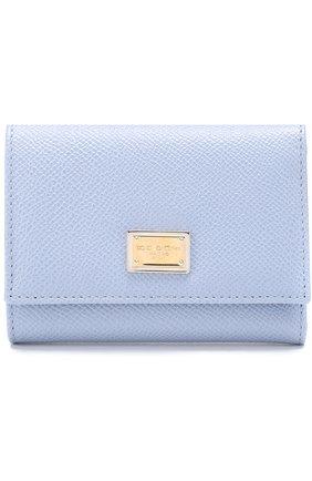 Кожаный кошелек Dolce & Gabbana светло-голубого цвета | Фото №1