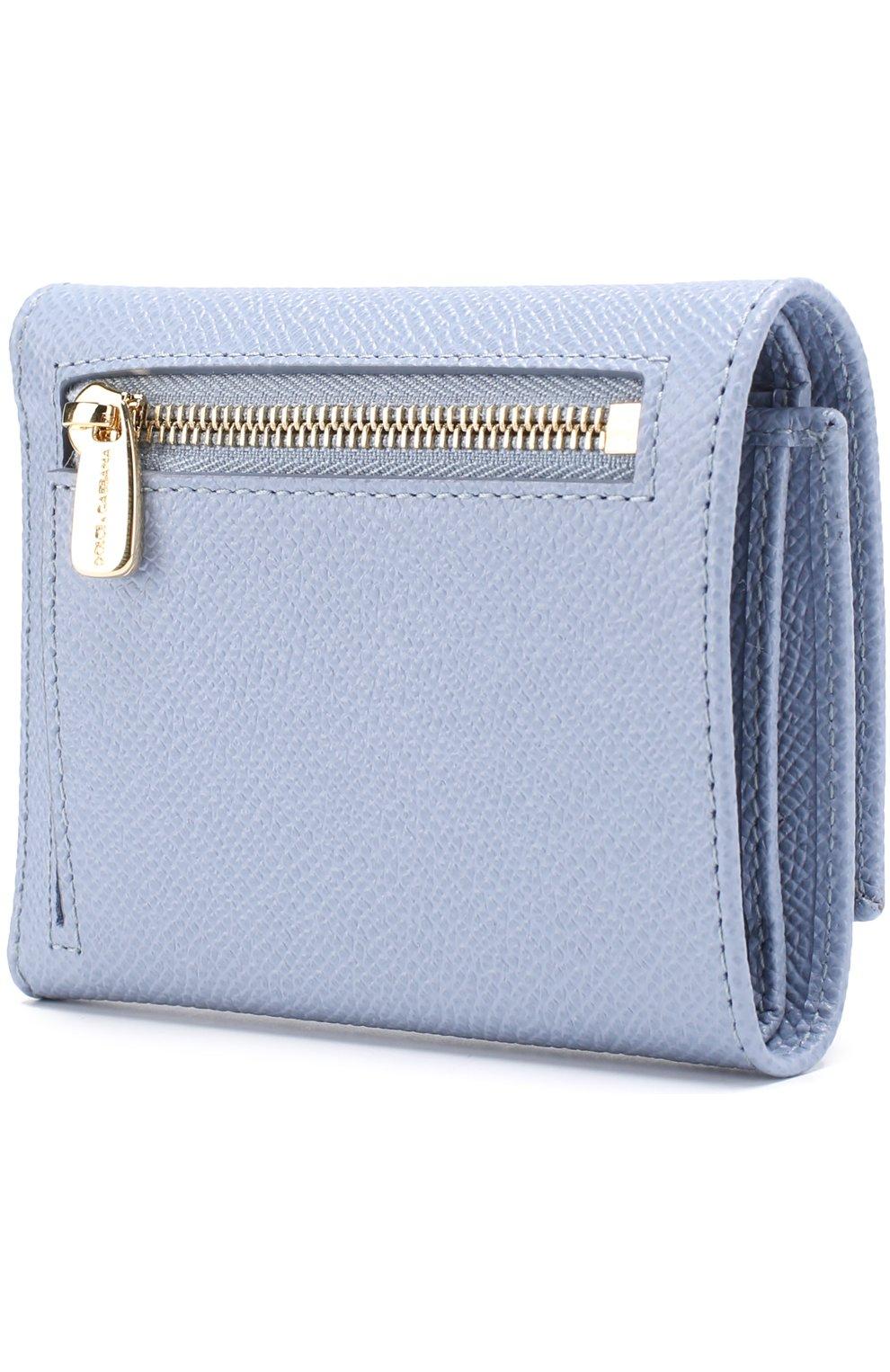 Кожаный кошелек Dolce & Gabbana светло-голубого цвета | Фото №2