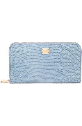 Кожаное портмоне на молнии Dolce & Gabbana светло-голубого цвета | Фото №1