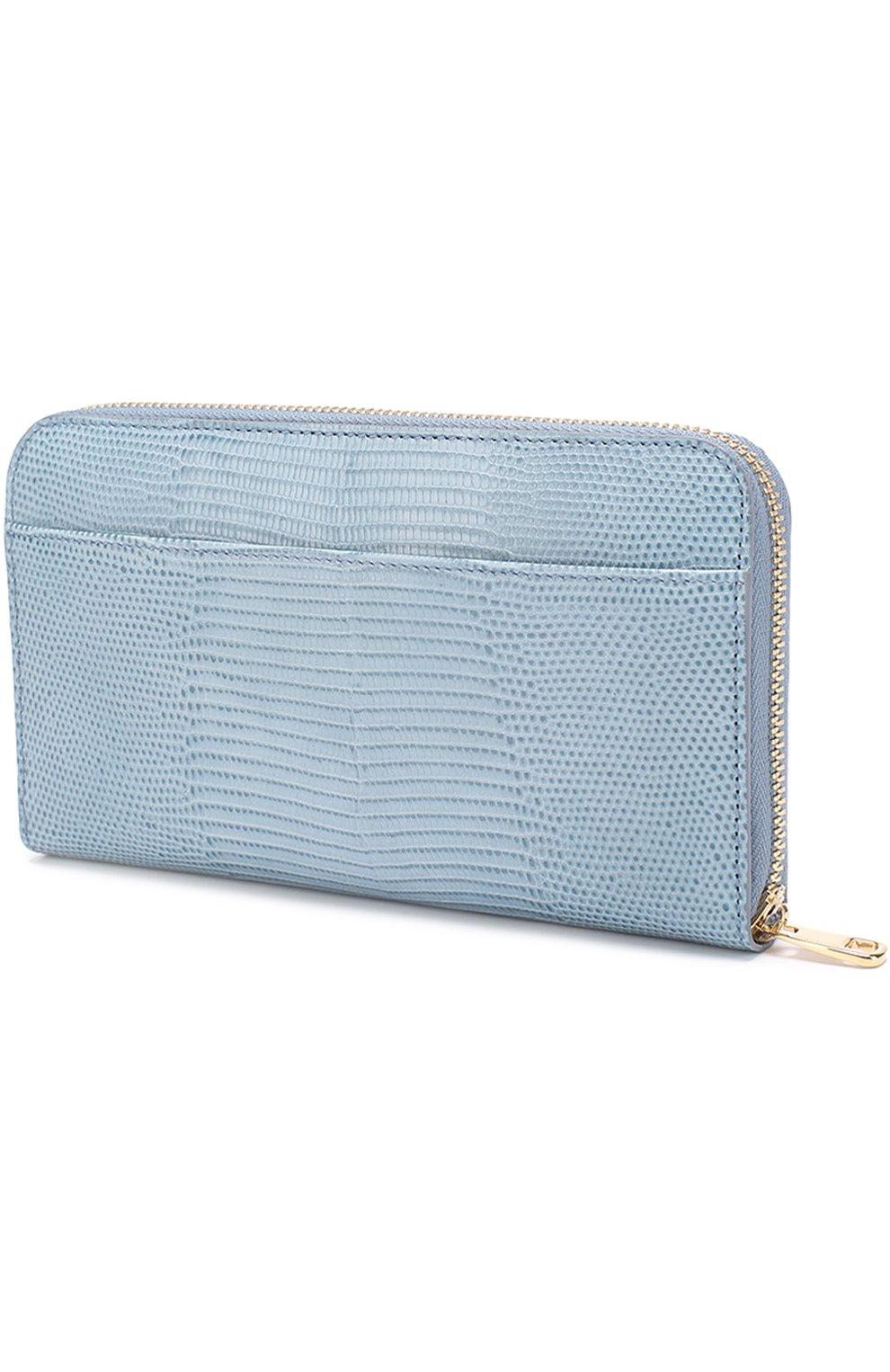 Кожаное портмоне на молнии Dolce & Gabbana светло-голубого цвета | Фото №2