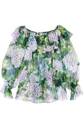 Шелковый топ с цветочным принтом и открытыми плечами Dolce & Gabbana зеленый   Фото №1