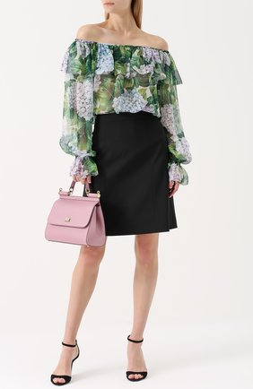 Шелковый топ с цветочным принтом и открытыми плечами Dolce & Gabbana зеленый   Фото №2