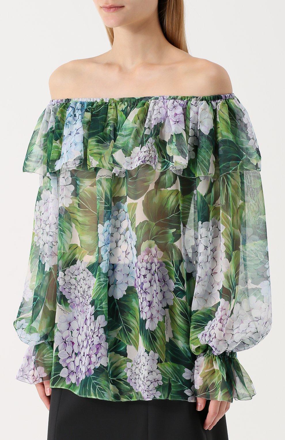 Шелковый топ с цветочным принтом и открытыми плечами Dolce & Gabbana зеленый   Фото №3