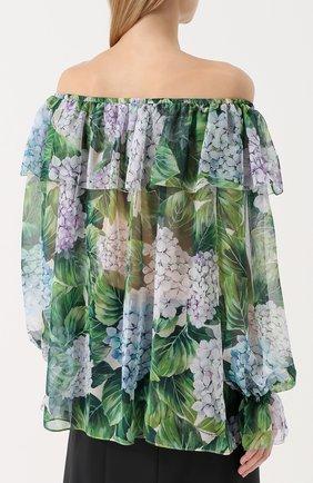 Шелковый топ с цветочным принтом и открытыми плечами Dolce & Gabbana зеленый   Фото №4