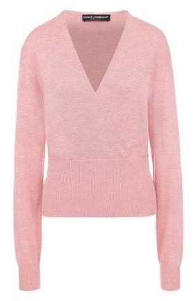 Шелковый пуловер с V-образным вырезом Dolce & Gabbana розовый | Фото №1