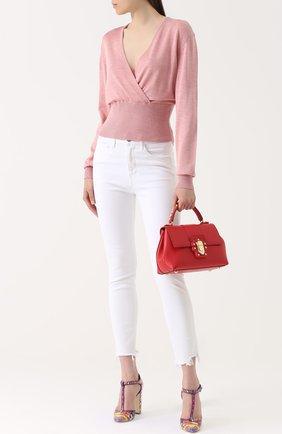 Шелковый пуловер с V-образным вырезом Dolce & Gabbana розовый | Фото №2