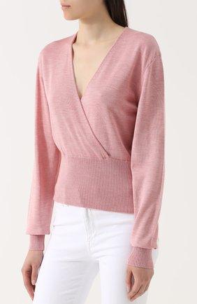 Шелковый пуловер с V-образным вырезом Dolce & Gabbana розовый | Фото №3