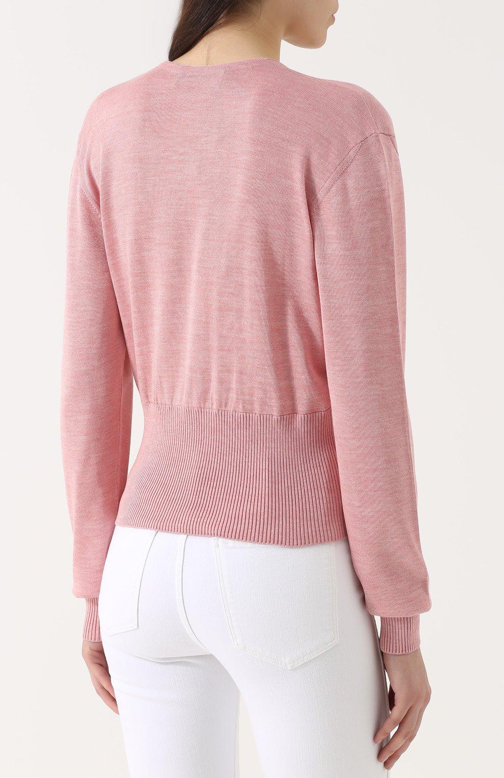 Шелковый пуловер с V-образным вырезом Dolce & Gabbana розовый | Фото №4