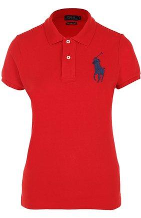 Хлопковое поло с вышитым логотипом бренда   Фото №1