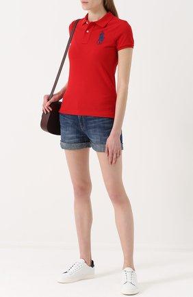 Женское хлопковое поло с вышитым логотипом бренда POLO RALPH LAUREN красного цвета, арт. 211505656 | Фото 2