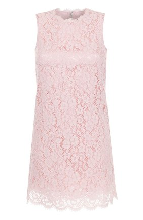 Кружевное мини-платье без рукавов Dolce & Gabbana розовое | Фото №1