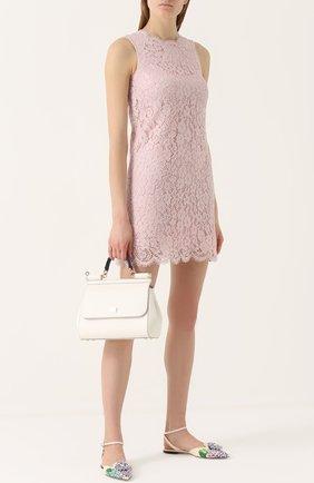 Кружевное мини-платье без рукавов Dolce & Gabbana розовое | Фото №2