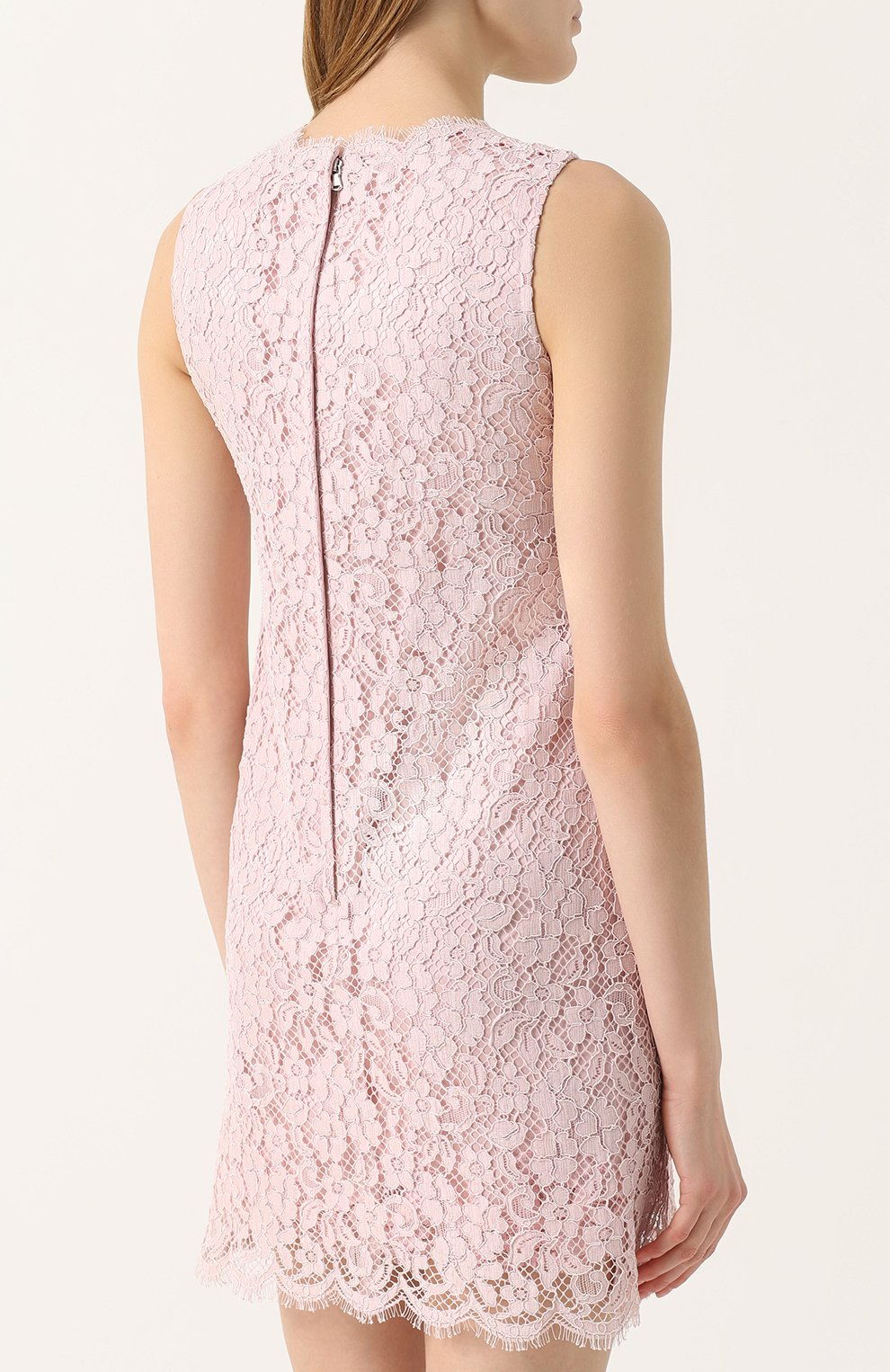 Кружевное мини-платье без рукавов Dolce & Gabbana розовое | Фото №3